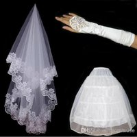 Wholesale White Ball Gown Gloves - Hot Sale Free Shipping In Stock Bridal Veils Gloves Petticoat Set 3 Hoops Tulle Two Layers Lace Edge Handmade Bride Wedding Accessories