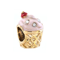 Wholesale Enamel Ice Cream Charms - Enamel Pink Butter Ice Cream Gold Plated Summer Bead Fits for Pandora Charm European Bracelet Jewelry