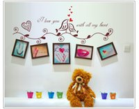 Wholesale Small Plastic Photo Frames - ''I Love you with all my heart ''Photo Frame Loving Bird Decal Vinyl Wall Stickers DIY PVC Home Decoration ZYPA-1006
