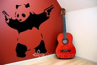 Wholesale Wall Stickers Panda - Wholesale-Banksy Panda Waving Hand Guns Vinyl Wall Sticker Wall Decal Poster Vintage Wall Mural Art Banksy
