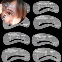 kit de forma de ceja al por mayor-8 Estilos de la Ceja de la Plantilla las Plantillas de las Herramientas de Aseo Stencil Kit de Maquillaje de la Conformación de Belleza BRICOLAJE Cejas Dibujo Accesorios MU04
