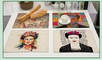 Wholesale table for painting - Euramerican style figures painted placemat Cotton and linen drawing table mat Dishware coasters for dinner accessories