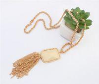Wholesale matching christmas sweaters - 2015 Hot Sell Fashion Gold Long Necklace Stone Pendants Tassel Sweater Women Necklace All Match Necklace jewelry Wholesale