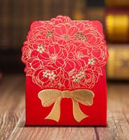 chinês casamento fita venda por atacado-2015 Mais Recente 100 pcs Chinês caixa de Doces Da Caixa Do Casamento vermelho fita Hot stamping bowknot Caixas de Presente de Casamento de Corte A Laser Bombons TH128