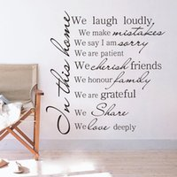 Wholesale House Rules Stickers - HOUSE RULES In this home we laugh loudly wall decal sticker living room Decor