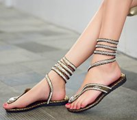 Wholesale Cloth Heels Wholesale - Fashion women Snake Flip Flops Gladiator Sandals teen girl Rhinestones winding vervel Flat Sandals summer shoes gold silver drop shipping