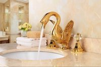 Wholesale Swan Faucet Crystal Handles - Free shipping GOLD finish 3 PIECEs ROMAN sink SWAN FAUCET CRYSTAL HANDLES BATHROOM lavaTORY FAUCET