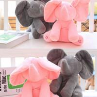 Wholesale Toy Moving Animal Doll - 30cm Plush Elephant Dog Doll Peek A Boo Hide Seek Elephant Toy PEEK-A-BOO Singing Baby Music Toys Ears Flaping Move Funny Doll