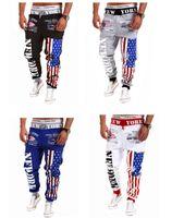 hose muster frei großhandel-Wholesale-2015 neue Ankunft Joggers Printed fünf Sterne gestreiften USA Flagge Muster Hosen Männer Hip Hop Hosen Sweatpants Kostenloser Versand