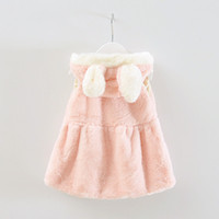 Wholesale Girls Fashion Sweaters Cheap - Wholesale-2016 New Girl Cute Rabbit Wool Sweater Vest Girls Burst Long Ears Jacket Soft Baby Girl Clothes Fashion Cheap