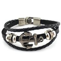 Wholesale Bracelet Navy Vintage - Vintage Men's Handmade Retro Leather Bracelet Navy Wind Hand-woven Anchor Leather Alloy Woven Bracelets 3 Colors 12Pcs Lot Free Shipping