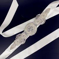 Wholesale Bride Children Dresses - Best Selling Crystals Beaded White Ivory Long Satin Wedding Dress Belts Wedding Accessories Hand Made Bridal Sashes Belt For Bride 2016