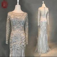 Wholesale High Quality Quinceanera Dresses - Real photos Vintage Silver Long Sleeve Mermaid Evening Dresses 2018 Shinning Women's Bodycon Party Dresses High quality Evening Prom Gowns