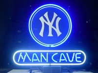 """Wholesale Yankee Lights - New York Yankees Man Cave Glass Neon Sign Light Beer Bar Pub Arts Crafts Gifts Lighting Size 22"""""""