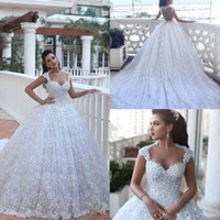 Wholesale Simple Wedding Dress Muslim Woman - 2018 Gorgeous Dubai Ball Gown Wedding Dresses Said Mhamad Full Lace Applique Chapel Train Bridal Gown Illusion Back Muslim Women