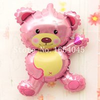 20pcs / lot Air Balloons Little Pink Teddy Bear Shape animaux Aluminium Foil Ballon d'anniversaire Party Balloons 45 * 27cFree Expédition
