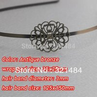 Wholesale Wholesale Metal Headband Blanks - Antique brass bronze metal hairband hair band headband findings accessories with 35x25mm filigree pad cabochon setting blank