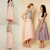 Wholesale Hi Low Tops - 2016 Tutu Skirt Party Dresses Sparkly Two Pieces Sequins Top Vintage Tea Length Short Prom Dresses High Low Bridesmaid Dresses with Pockets