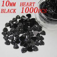Wholesale Black Heart Gem - High Luster Heart Resin Beads 1000pcs 10mm Black Heart Shape Flatback Resin Gems Resin rhinestone Glue on Diy