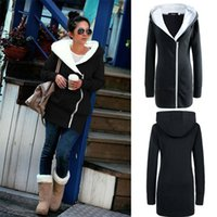 Wholesale Slimming Batch - Christmas gift - Christmas gift - Foreign Women oblique zipper hooded thermal batch personality plus velvet sweater and long sections Ms.