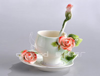 Coppa All'ingrosso-180ml porcellana europea Bone China Red Rose Caffè Set creativo Tea Set a mano della pittura stabilita, trasporto libero all'ingrosso