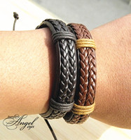 Wholesale Genuine China Wholesale - Double Genuine Leather Wrap Braided Bracelets wide Punk bangle Hemp Wristband Fashion Men women Handmade New wholesale 12pcs