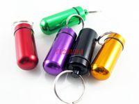 aluminium-pillenhalter schlüsselanhänger großhandel-Freies Verschiffen imprägniern Aluminiummedizin-Pillen-Kasten-Kasten-Flaschenhalter Keychain Behälter-Mischungs-Farben, 500pcs / lot
