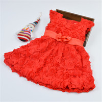 Wholesale Wholesale Short Sleeve Wedding Dress - New Style Baby Dress Red Rose Flower Girls Short Sleeve Princess Dress Babies Wedding Dress Toddler Dresses Kids Clothes
