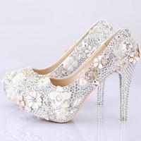 Wholesale Jeweled High Heeled Shoes - 2016 Gorgeous Wedding Shoes Round Toe Silver Rhinestone Bridal Dress Shoes Handmade Jeweled Crystal Party Prom Amazing Pumps