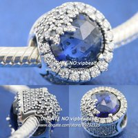 Wholesale Shiny Black Cross - New 2017 Winter S925 Sterling Silver Blue Shiny Snowflake CZ Charm beads For Pandora charm Bracelets Beads & Jewelry Making