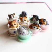 ingrosso bonsai terrarium-8 pezzi / gattino carino / miniature / tazza di gatti belli / animali / gnomo da giardino fata / decorazione terrario / artigianato / bonsai