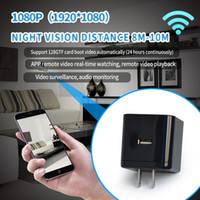 usb drahtloser videoadapter großhandel-Drahtloser WIFI Wechselstrom-Adapter-Stecker-Kamera-Nachtsicht FULL HD 1080P Mini-USB-Ladegerät Kamera-Sockel MINI DV DVR Video Recorder