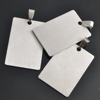 Wholesale Blank Jewelry Square - 50 pcs a lot Stainless Steel Stamping Blanks DIY Square Shape Accessory Dog Tag Lobster Jewelry For Your Design Sports DIY Pendant Charms