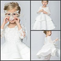 Wholesale Dresse For Wedding - 2015 cheap A-line Knee-length Cotton Organza Taffeta Ball Gown Princess 3 4 Length Sleeve Dresse free shipping for Birthday Pageant dresses