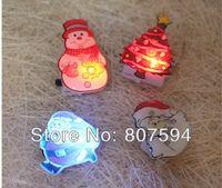 Wholesale Wholesale Flashing Light Pins - Christmas Decorations 50pcs lot LED Light Santa Claus&snowman&Christmas Tree Flashing Brooch Pins,Adornos Navidad s38