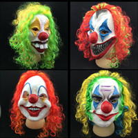 Wholesale Colorful Carnival Masks - Horror Halloween Mask Clown Mask Long Curl Colorful Hair Latex Mask Carnival Masquerade Party Costume