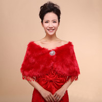 Wholesale Shawls Wraps For Sale - Hot Sales Free Shipping White Red Fur Wrap Bolero Jacket Wedding Dress Lace Shawl In Free Size For Winter Wedding Dresses Evening Events