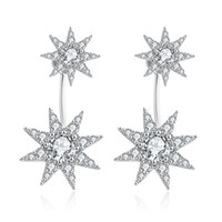 Stud spike earring backs - Double Side Spiked Crystal Flower Studs Front to Back Earring Jacket