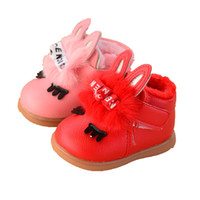 Wholesale Muscle Rabbit - Wholesale thick warm short ankle boots PU winter first walkers baby shoes girls kids cute cartoons rabbit head 2017 red pink 15-19