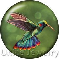 Wholesale Hummingbird Charms - AD1301489 18mm Snap On Charms for Bracelet Necklace Hot Sale DIY Findings Glass Snap Buttons Hummingbird Design noosa