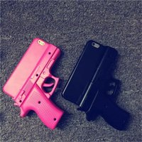 Wholesale Wholesale Gun Cases - New 3D Gun Pistol Toy Style Hard Plastic PC Back Cover Protective Skin for iPhone 5S 6 6S Plus