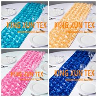 Wholesale Hot Events - Hot Sale Satin Rosette Fabric Table Runner Fit On Table Cloth For Wedding And Event Decoration