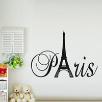 Paris Arte Torre Eiffel vinil removível Wall Stickers Decalques Citar sala de estar quarto fundo do transporte Home Decor grátis