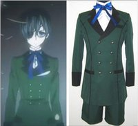 Wholesale Halloween Costume Wear - Anime Black Butler kuroshitsuji Ciel Phantomhive Cosplay Costume emboitement Green Party Wear set Halloween Clothing Set