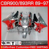 Wholesale fairing cbr893 92 resale online - CBR RR For HONDA CBR900RR red Silver CBR893RR NO23 CBR893 RR Fairing