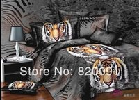 Wholesale Manly Comforter Sets - Wholesale-Hot Manly Animal Print Fierce Tiger Head Printed Duvet Quilt Cover Set Comforter Sets 4 or 5pcs Full Queen Imitated Oil Painting