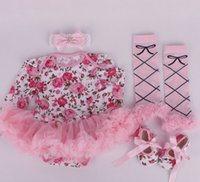 Wholesale Stripe Pink Romper - ins girl infant toddler 4piece outfits flower floral onesies romper tutu + lace legging leg warmer + headband + shoes zebra stripe 3sets