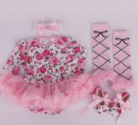 tenues zebra tutu achat en gros de-Ins fille infantile bambin 4 pièces tenues fleur floral onesies barboteuse tutu + dentelle legging jambière + bandeau + chaussures zèbre bande 3 ensembles