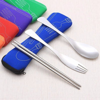 Chopstick Fork Spoon Stainless Steel Tableware Camping Bag Picnic Jogos Lunch Box 3pcs Travel Stainless Steel Cutlery Camping Portable Bag