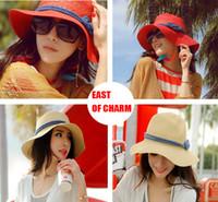 güzel plaj şapkaları toptan satış-Toptan Satış - Kadınlar Casual Geniş Brim Dokuma Sun Hat Moda chapeu feminino Beach Hat chapeu panama için Yeni 2015 Yaz Şapka